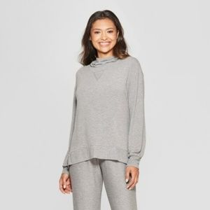 NWT Women's Gray Cozy Cowl Neck Sleep Sweatshirt